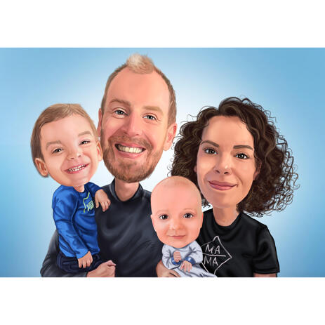 Family with Kids Caricature Portrait on Blue Background - example