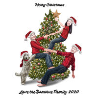 Christmas Family Caricature Card with Christmas Tree