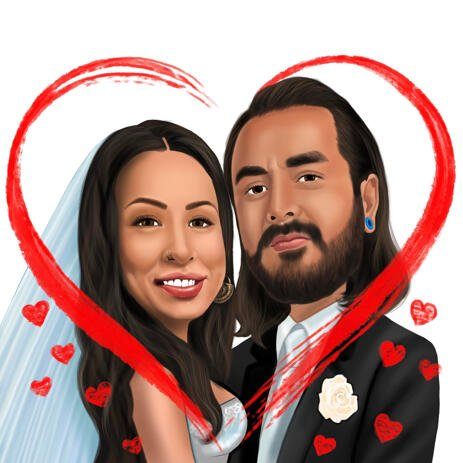 Bride and Groom in Heart Caricature from Photo for Custom Newlyweds Gift - example