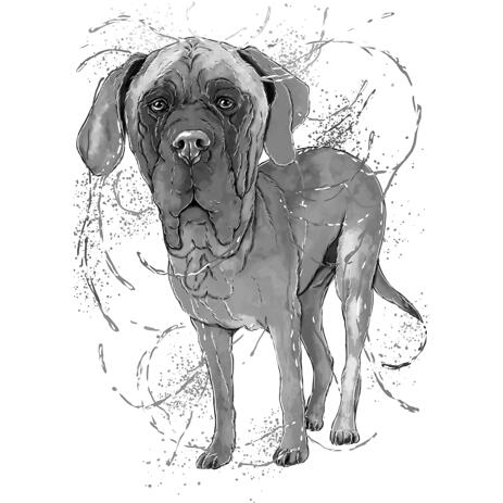 Full Body Black Lead Great Dane Dog Cartoon Drawing from Photo in Watercolor Style - example