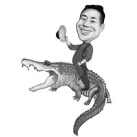 Person Riding a Crocodile Caricature in Black and White Style