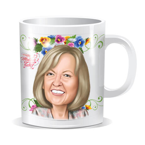Mug with Printed Cartoon Drawing: Custom Colored Digital Drawing from Photo - example