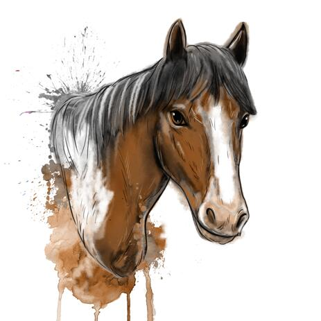 Horse Watercolor Portrait in Natural Coloring - example