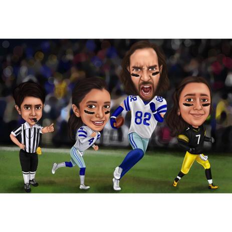 Rugby League Fußball Familie Karikatur Cartoon von Fotos - example