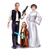 Caricature familiale complète du corps dans un style coloré pour les fans de Star Wars