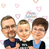 Custom Caricature Drawing of Family in Colored Pencils Style
