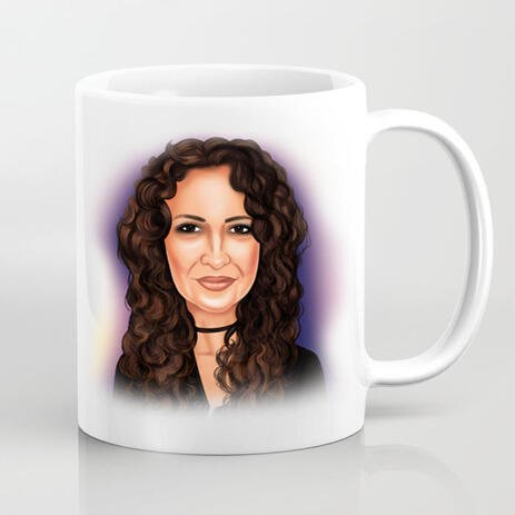 Personalized Photo Mug: Drawing of Woman in Colored Digital Style - example