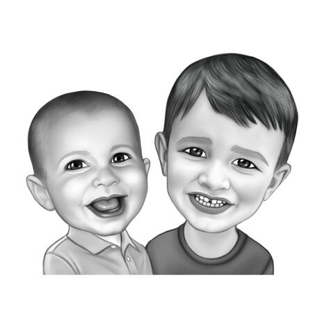 Black and White Style Boys Caricature Portrait from Photos - example