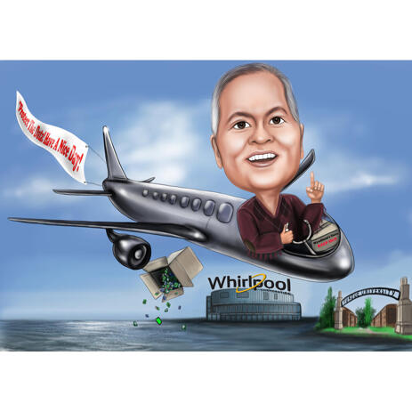 Pilot Caricature Gift with Custom Background and Airplane - example