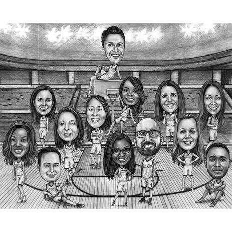 Sport Group Caricature of Basketball Team in Gym in Black and White Style - example