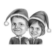 Черно-белая карикатура брата и сестры с фотографии для рождественского подарка