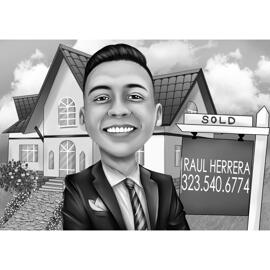 Realtor Cartoon Logo in Black and White Style with Background