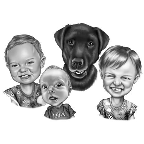 Baby Kids with Pet Black and White Cartoon Caricature from Photos - example
