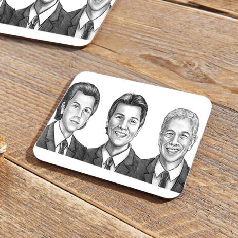 Caricature for Business Owners on Photo coasters - example