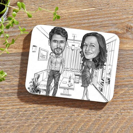 Colleagues Caricature on Photo coasters - example