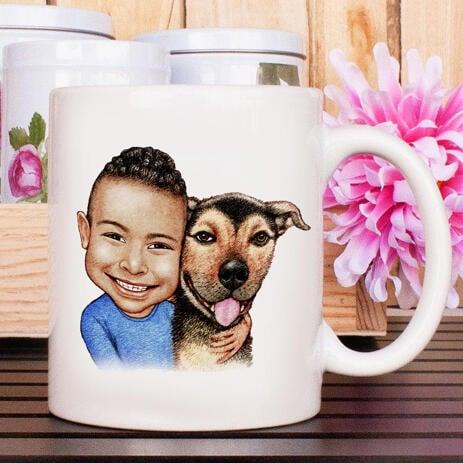 Kid and Dog Caricature as Mug - example