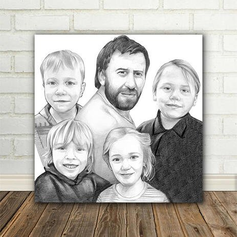 Custom Canvas Print Family Caricature in Black and White Digital Style - example