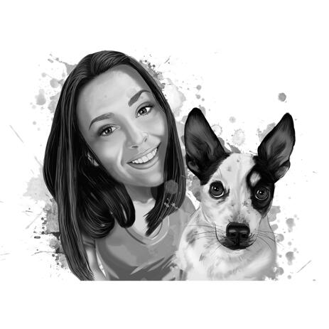 Personalized Dog Portrait with Owner Drawing Gift - example