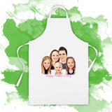 Personalized Print in Apron: Custom Family Cartoon Drawing