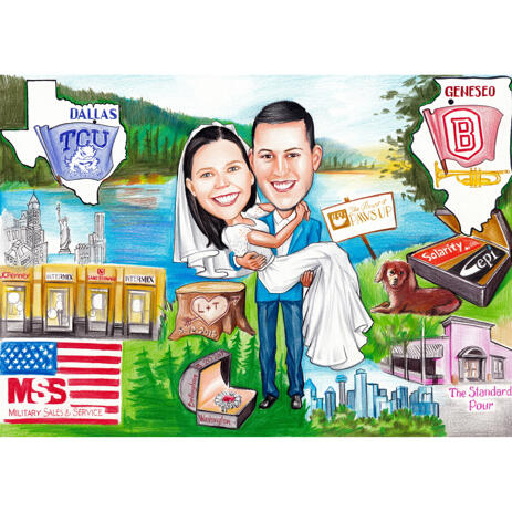 Wedding Caricature with Memorable Objects in the Background - example