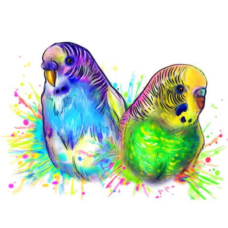 Два попугая в акварельном стиле Яркий портрет по фотографиям - example
