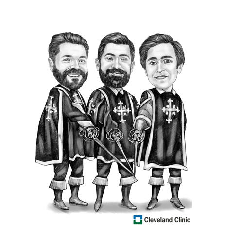 Three Musketeers Cartoon Caricature Hand Drawn in Black and White Style from Photos - example
