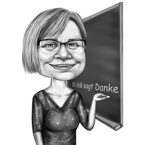 Funny Professions Caricature Drawing in Black and White Style - example