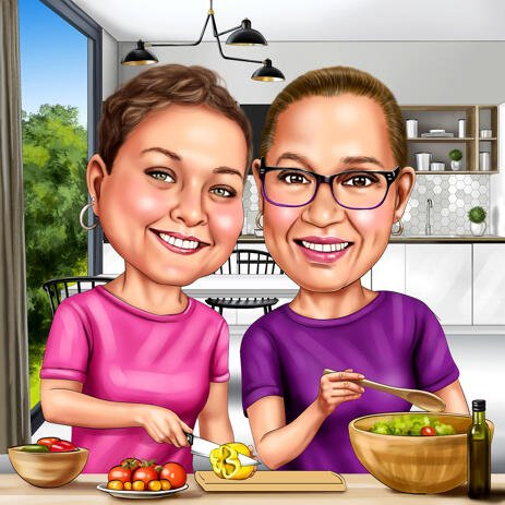 Cooking Caricature of Two Person Hand Drawn in Colored Style with Custom Background - example
