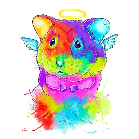 Hamster Memorial Rainbow Portrait Drawing from Photos - example