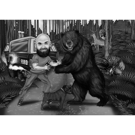 Funny Bear Hunting Caricature in Black and White Style with Custom Background - example