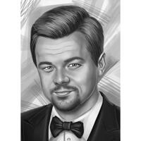Famous Celebrity Actor Caricature in Black and White Style from Photos