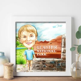 Colored Boy Caricature on Poster