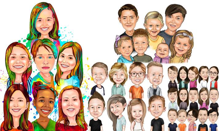 Group Children Caricatures large example