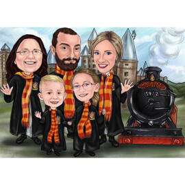 Harry Potter Fans Family Drawing for Custom Family Portrait