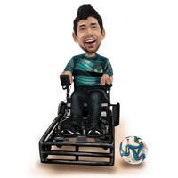 Karikatuur van de Karikatuur van de Voetbalspeler van de rolstoel in Kleurstijl van Foto's