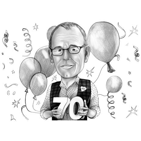 Grandfather Black and White Style Caricature Portrait for Birthday Anniversary - example