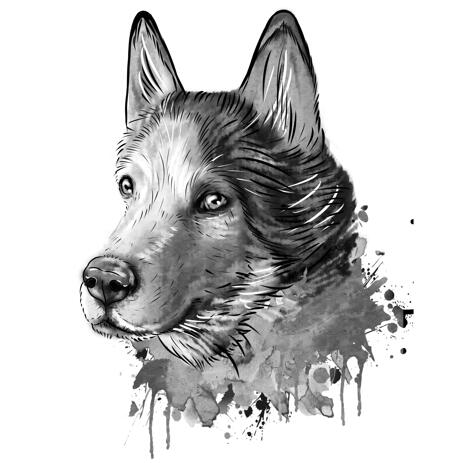 Graphite Dog Husky Portrait from Photos in Black and White Watercolor Style - example