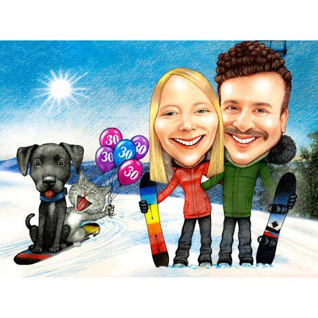 Couple with Pets - Full Body Caricature with Colored Background - example