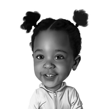 طفلة كاريكاتير صورة من الصورة في نمط الرسم بالأبيض والأسود - example