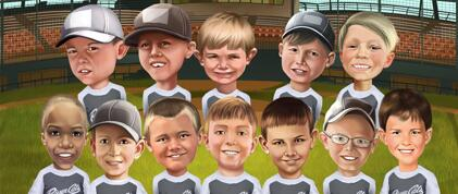 Group Children Caricatures
