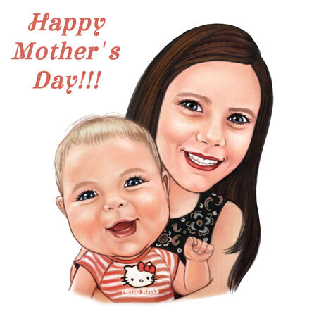 Mother and Kid Portrait from Photos in Colored Pencils Style - example