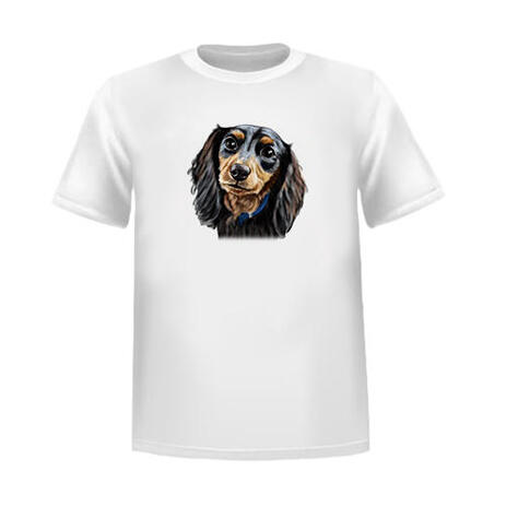 Custom Head and Shoulders Pet Caricature Portrait from Photos on T-shirt - example