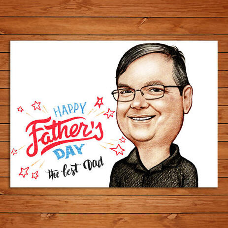 Dad Caricature Cartoon in Color Style Printed on Photo Paper for Father's Day Gift - example