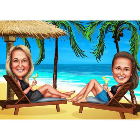 Two Persons Vacation Caricature with Beach Background - example
