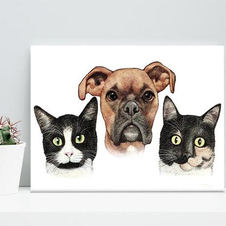 Pets Caricature Printed on Canvas - example