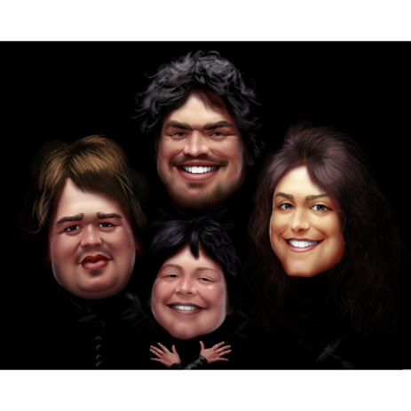 Bohemian Rhapsody Style Group Caricature for Music Lovers - example