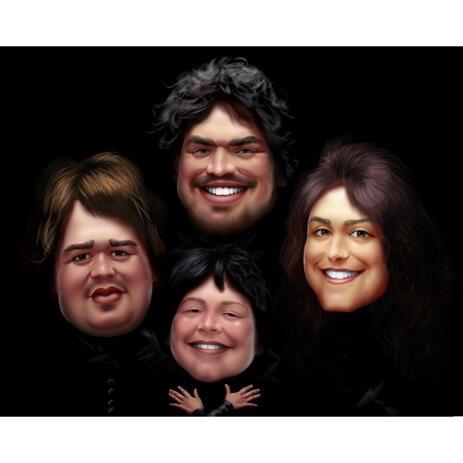 Bohemian Rhapsody Style Group Karikatyr för musikälskare - example