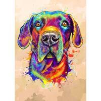 Akvarell hundkarikatyrporträtt från foton med neutral färgbakgrund