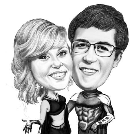 Черно-белая карикатура пары в образе супер героев, нарисованная с фото. - example