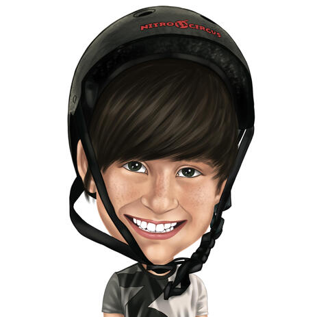 Kid in Helmet Colored Caricature from Photos - example